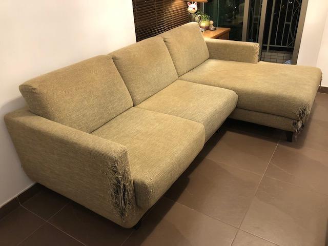 免費三座位L型躺椅布藝梳化 - SOFAMARK 產品 yt.sam(10/11 13:42) 二手 傢俬 送贈